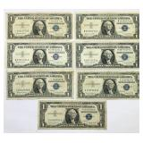 (7) 1957B One Dollar Silver Certificates