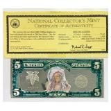 2001 $5 Silver Indian Silver Certificate with COA