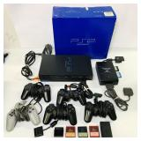 PS2 Console, 5 Controllers, multi player adapter,