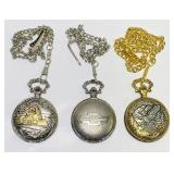 (3) Pocket Watches, Train, Chevy Trucks, Eagle,