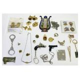 Lot of Jewelry/Key Chains/pins/ Thermometer etc
