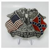 "1987 Pewter Dixie Pride Belt Buckle 3"" x 2.25"""
