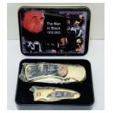 2003 Johnny Cash Knife set in tin box