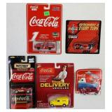 (5) SEALED Coca Cola Metal Cars