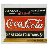 "Metal Coca Cola USA made Sign 16"" x 12.5"""