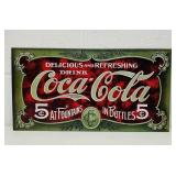 "Coca Cola Metal USA made Sign 16"" x 8.5"""