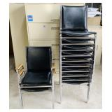 (12) Adult Size Stackable Chairs, 2 Have Arms