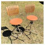 2 Matching Swivel Seat Bar Stools