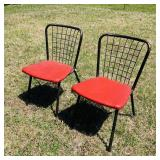 2 Metal Chairs/ Padded Seats, Neat Backs!