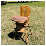 Vintage Wood High Chair w/Fiberglass Tray
