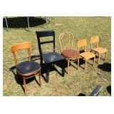 5 Vintage Chairs, 3 are Thonet