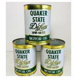 (3) Quaker State DeLuxe 1 qt FULL Motor Oil 1981
