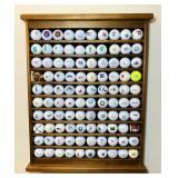 100 Advertising Golf Balls on Wood Display Rack