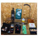 Garage lot,CB Radio, Air pump, Saw, cigar boxes