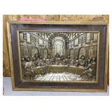 "Old Copper Last Supper Art 25"" x 19"""