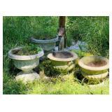 4 big Concrete Flower Pots, pots only, not pump