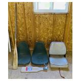 3 Boat Seats, Wooden Oar, Eagle Claw Fillet Board