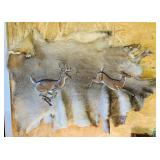 Deer Hide w/ 2 Thick Cast Aluminum Deer. Deer are