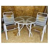 2 Outdoor Metal Chairs w/ Table