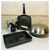 Wok, grilled cheese pan, cake pan and large metal