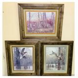 3 Wildlife Prints Framed in Barnwood Frames