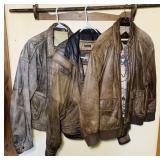 3 Leather Bomber Jackets, Size 44, Large, Large