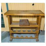 "Portable  Wood Wine rack w/wheels 3 ft x 14.5"""