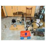 Basement Lot, nos Kites, chair, lamp etc