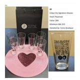 6 Bay City Signature Glasses, Heart Placemat