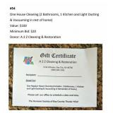 One House Cleaning Gift Certificate