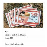 Five Big Boy $5 Gift Certificates