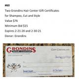 Two Grondins Hair Center Gift Certificates