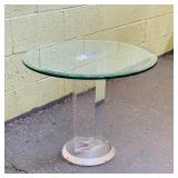Lucite Table w/glass Top, all one piece
