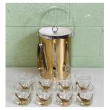 8 Couroc Roadrunner Glasses w/Ice Bucket