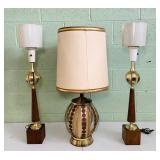 3 Vintage Lamps Brass, Wood