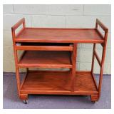 "Serving Cart, Hardwood, 32"" x 17.5"" x 32"" high"