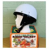 Vintage White Fiberglass Riding Helmet in Box,