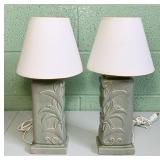 "Pair of Ceramic Lamps w/Shades 17"" high"