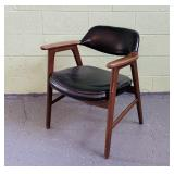 Mid Century Office Chair, Wood w/ Black Vinyl Seat