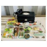 Old Pal Tackle Box, bags of Rubber Worms