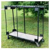 "Metal Cart on Wheels, 62"" wide x 22"" x 4 ft high,"