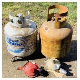 2 empty 20 lb. Propane Tanks, 2 Regulators
