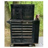 Large Metal Tool Box on Wheels W/ Vise