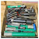 Box full of Drill Bits, Threader Bits, etc