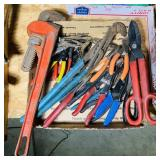 Box full of Plyers, Cutters, Vice grips