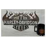 "Metal Harley Davidson Sign 17"" x 9.5""/ Coffee Cup"