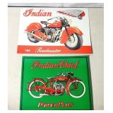 """2 Indian motorcycle signs, 16"""" X 11"""" and 14"""" x 11"""""""