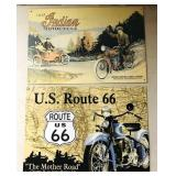 2 tin motorcycle signs - Indian and Route 66 -