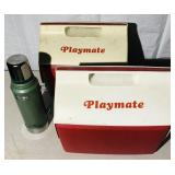 2 Playmate Igloo Coolers, 1 Stanley Thermos