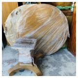 Beautiful Old Oak Round Table w/Base on Wheels,